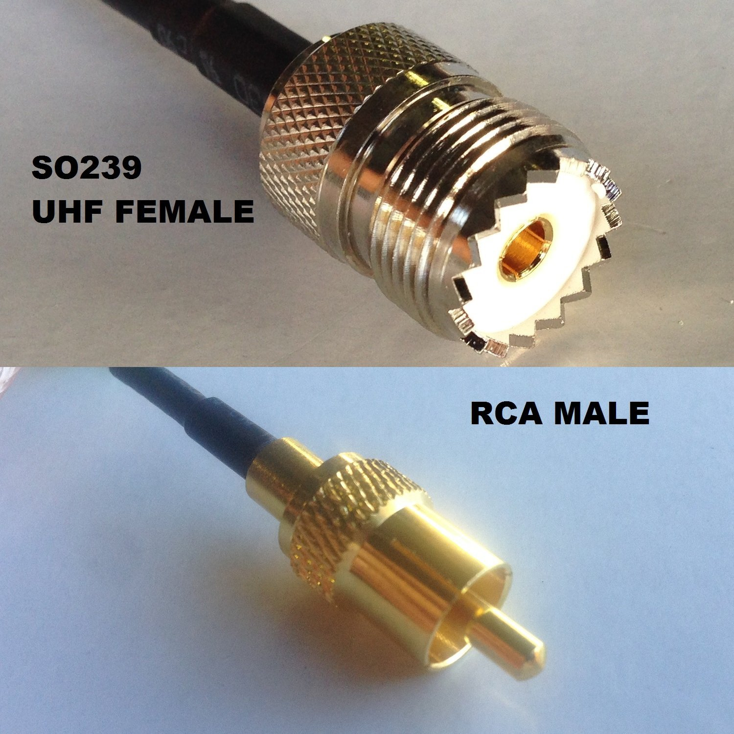 3 feet RG58 PL259 UHF MALE to RCA Male Coaxial cable High Quality ships from USA