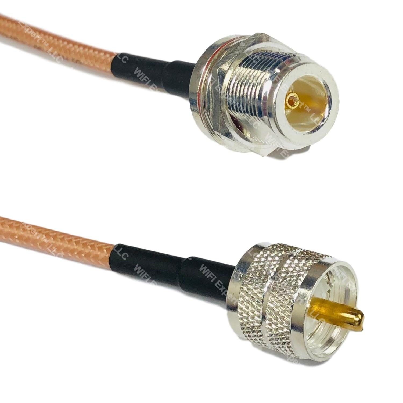 RFC195 Silver Mini UHF Male to N FEMALE BULKHEAD Coax RF Cable USA Lot